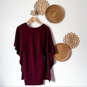 Lulu's burgundy cape dress, SZ XS, NWT